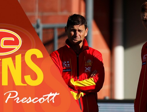 Gold Coast Suns coach Ashley Prescott is kicking goals in Robina